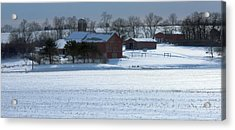 Red Barn In Snow Cover Acrylic Print