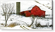 Red Barn In Snow Acrylic Print
