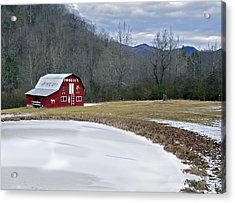 Red Barn In Tate City Acrylic Print