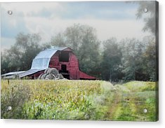 Red Barn In The Fog Acrylic Print