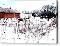 Red Barn In Winter Acrylic Print by Gemblue Photography