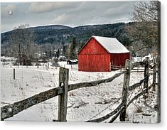 Red Barn In Winter - Tyringham Cobble Acrylic Print