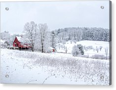 Red Barn In Winter Wonderland Acrylic Print by Donna Doherty