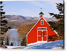 Red Barn On Newfound Lake Acrylic Print