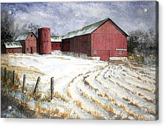 Acrylic Print featuring the painting Red Barn On Rt. 49 by Roger Rockefeller