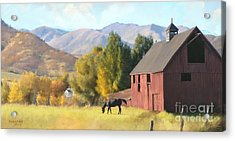 Red Barn Acrylic Print by Rob Corsetti