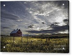 Acrylic Print featuring the photograph Red Barn Southbound Train by Kristal Kraft