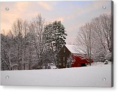 Acrylic Print featuring the photograph Red Barn Sunrise by Larry Landolfi