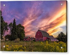Red Barn Sunset 2 Acrylic Print