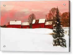 Red Barn Sunset Acrylic Print