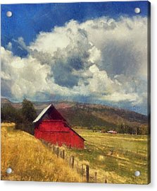 Red Barn Under Cloudy Blue Sky In Colorado Acrylic Print
