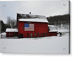 Red Barn With Flag In The Snow Acrylic Print by Bill Cannon