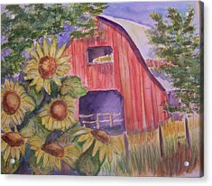 Red Barn With Sunflowers Acrylic Print by Belinda Lawson
