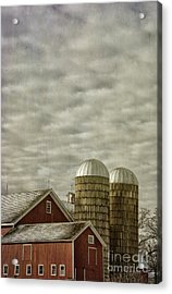 Red Barn With Two Silos Acrylic Print by Birgit Tyrrell