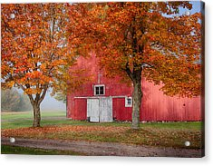 Acrylic Print featuring the photograph Red Barn With White Barn Door by Jeff Folger