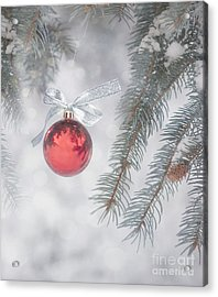 Red Bauble Acrylic Print by Juli Scalzi