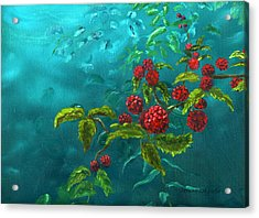 Red Berries In Blue Green Painting Acrylic Print