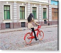 Red Bike Acrylic Print by Gene Mark