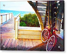 Red Bike On Beach Boardwalk Acrylic Print