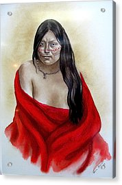 Red Blanket Acrylic Print by Karen Roncari