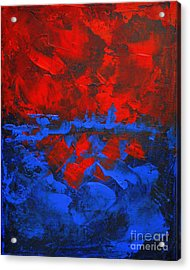 Red Blue Abstract Make It Happen By Chakramoon Acrylic Print by Belinda Capol