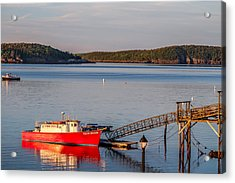 Acrylic Print featuring the photograph Red Boat Bar Harbor Me by Trace Kittrell