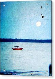 Red Boat Big Moon Acrylic Print