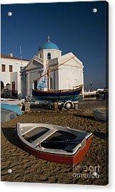 Red Boat In Mykonos At Dawn Acrylic Print