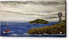 Acrylic Print featuring the painting Red Boat In The Celtic Sea by Susan Culver