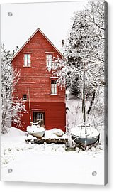 Red Boathouse In The Snow Acrylic Print by Benjamin Williamson