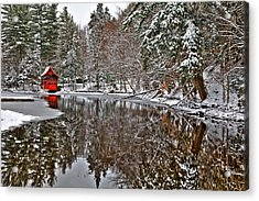 Red Boathouse In Winter Acrylic Print by David Patterson