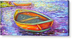 Red Boats On Autumn's Shore Acrylic Print