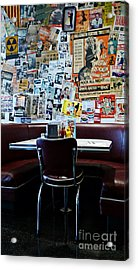 Red Booth Awaits In The Diner Acrylic Print by Nina Prommer