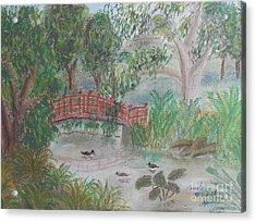 Red Bridge At Wollongong Botanical Gardens Acrylic Print by Pamela  Meredith