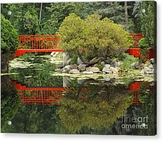 Red Bridge Close Reflection Acrylic Print