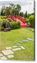Red Bridge In A Japanese Garden Acrylic Print