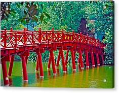 Red Bridge In Hanoi Vietnam Acrylic Print