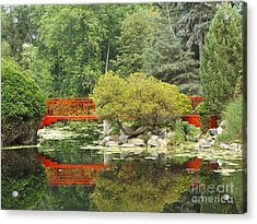 Red Bridge Reflection In A Pond Acrylic Print