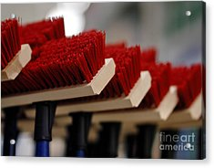 Red Bristled Push Brooms Acrylic Print by Amy Cicconi