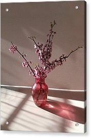 Red Bud And Rose Glass Acrylic Print
