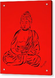 Red Buddha Acrylic Print by Pamela Allegretto
