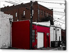 Red Building Acrylic Print by Nathan Hillis