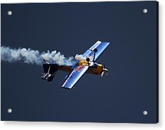 Acrylic Print featuring the photograph Red Bull - Inverted Flight by Ramabhadran Thirupattur