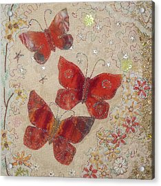 Red Butterflies Acrylic Print by Hazel Millington
