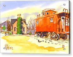 Red Caboose At Whistle Junction Ironton Missouri Acrylic Print by Kip DeVore