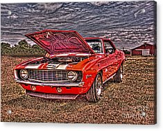 Red Camaro Acrylic Print by Jim Lepard