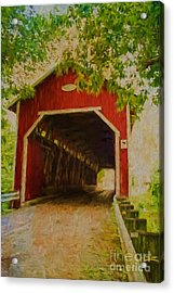 Red Canadian Bridge Acrylic Print by Deborah Benoit