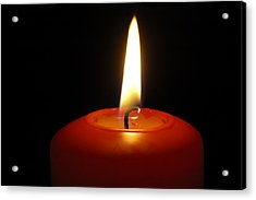 Red Candle Burning Acrylic Print by Matthias Hauser