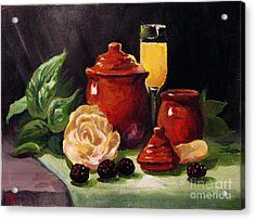 Red Candle Jars Acrylic Print by Carol Hart