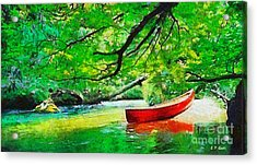 Red Canoe Acrylic Print by Elizabeth Coats